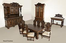 STENCEL CUSTOM CARVED OAK DINING SUITE