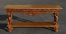 STENCEL FIGURAL CARVED OAK SOFA OR FOYER TABLE