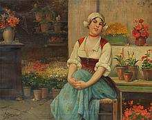 JOSEF SUSS DUTCH MAIDEN FLOWER SELLER PAINTING