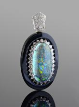 LIGHTNING RIDGE BLACK OPAL DIAMOND PENDANT