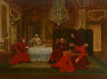 LARGE LEO HERRMANN INTERIOR PAINTING WITH CARDINAL