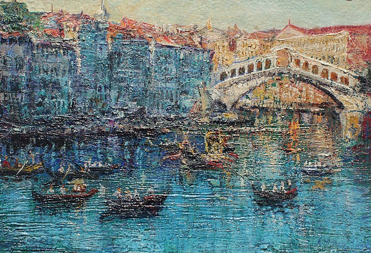 GOOD ILLEGIBLY SIGNED VENETIAN CANAL PAINTING