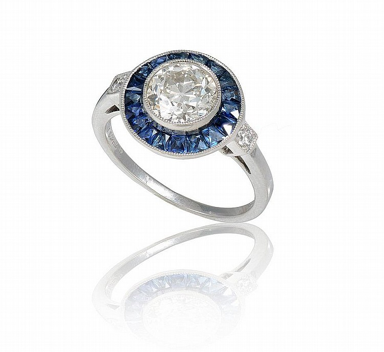 SOPHIA D 1.3CT DIAMOND W/ SAPPHIRES SZ 6 RING