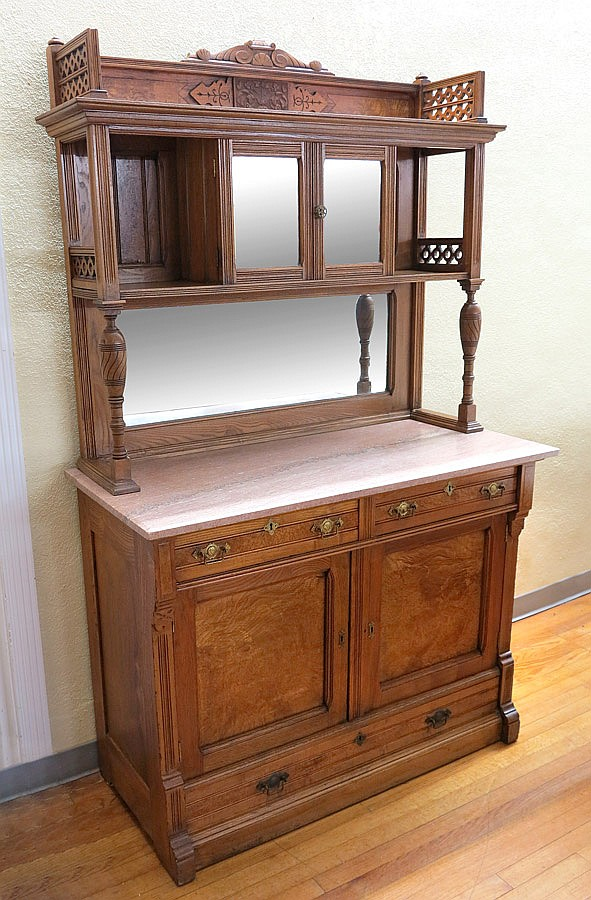 MARBLE TOP VICTORIAN SIDEBOARD CABINET