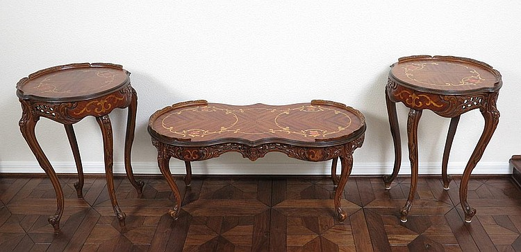 SET OF 3 FRENCH MARQUETRY INLAY SIDE & COFFEE TABLES