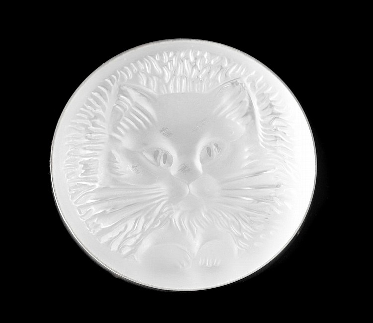 MARIE CLAUDE LALIQUE LALIQUE CRYSTAL CAT PIN