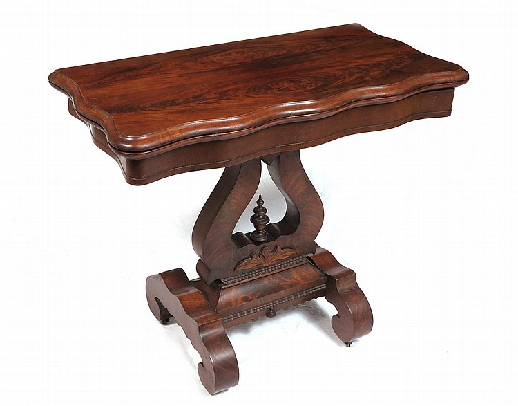 LYRE BASE EMPIRE WALNUT GAME TABLE