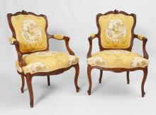 PAIR LOUIS XV STYLE SHIELD BACK CHAIRS