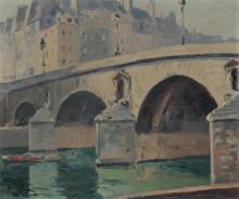 GOOD ILLEG SIGNED OIL/CANVAS PAINTING PONT NEUF