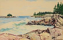 PARKER GAMAGE ROCKY RIVER SHORELINE PAINTING