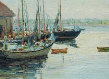 THOMPSON, C. H., (): Boats at Docks, 12'' x 19''.