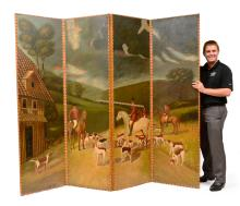 MAITLAND SMITH PAINTED 4 PANEL FLOOR SCREEN