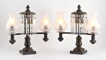 PAIR ARGAND DOUBLE ARM LAMPS