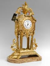 CONTEMPORARY LARGE GILT BRASS MANTLE CLOCK