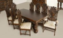STENCEL CUSTOM CARVED OAK DINING TABLE