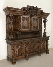 PALATIAL STENCEL CARVED OAK COURT CUPBOARD
