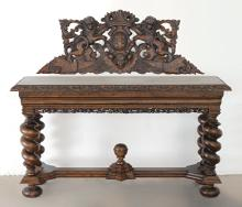 STENCEL CARVED OAK SIDEBOARD
