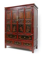 CHINESE RED LACQUER 4 DOOR TEMPLE CABINET
