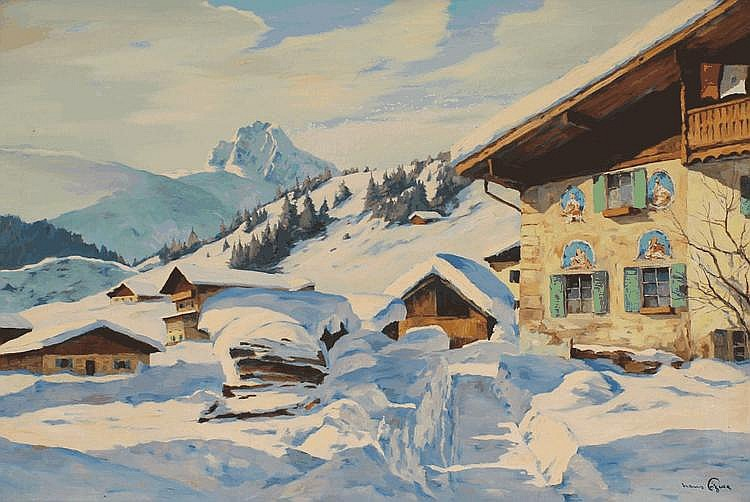 HANS FIGURA ALPINE VILLAGE PAINTING