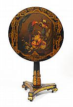 VICTORIAN PAINT DECORATED TILT TOP SIDE TABLE