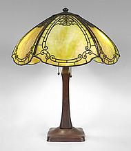 HANDEL 6 BENT PANEL SLAG GLASS LAMP