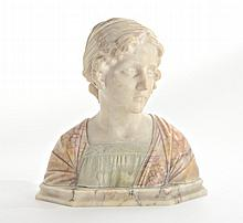 CARVED ALABASTER & MARBLE BUST BY BESSI