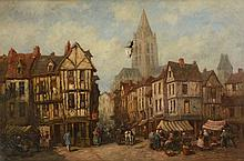PIERRE LE BOEUFF NORMANDY MARKET SCENE PAINTING