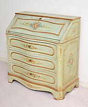 EARLY PAINT DECORATED DROP FRONT SECRETARY DESK