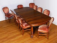WALNUT DINING TABLE 6 LEAVES & 10 CHAIRS