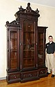 HIGH VICTORIAN TRIPLE BOOKCASE CABINET
