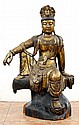 LARGE CARVED GILT WOOD SEATED BUDDHA 43'' TALL