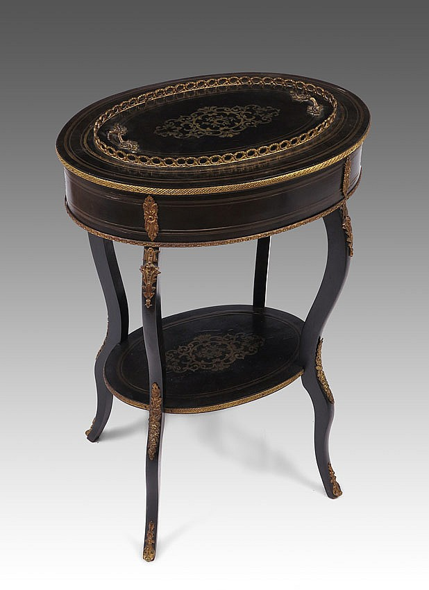 8: EBONIZED BOULLE INLAY FERNER PLANTER