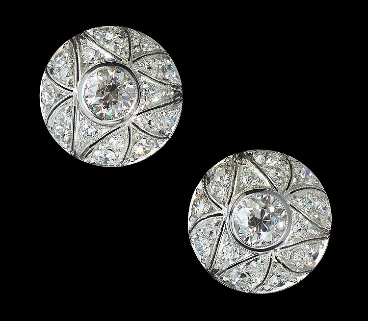 32: PLATINUM OLD EURO DIAMOND EARRINGS 3.57 CT