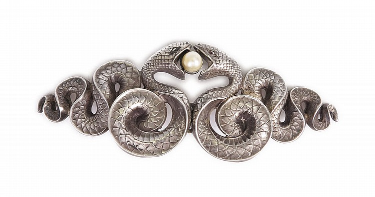 2: KERR ART NOUVEAU STERLING SNAKE BUCKLE