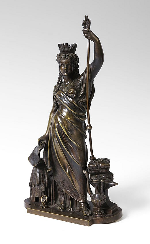 42: FRENCH BRONZE MAIDEN SCULPTURE