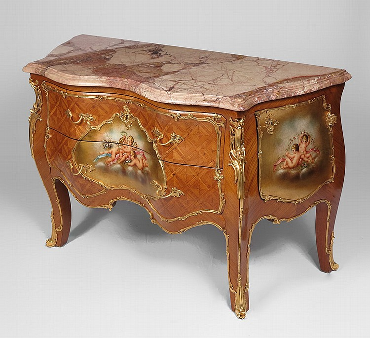 FRENCH MARBLE TOP PAINTED & ORMOLU MOUNTED COMMODE
