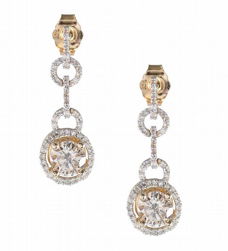 1.70 CTW COLORED DIAMOND EARRINGS 14k
