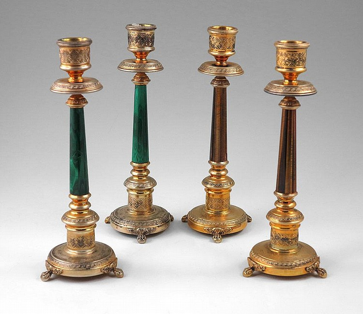 4 ITALIAN SILVER MALACHITE TIGER'S EYE CANDLESTICKS