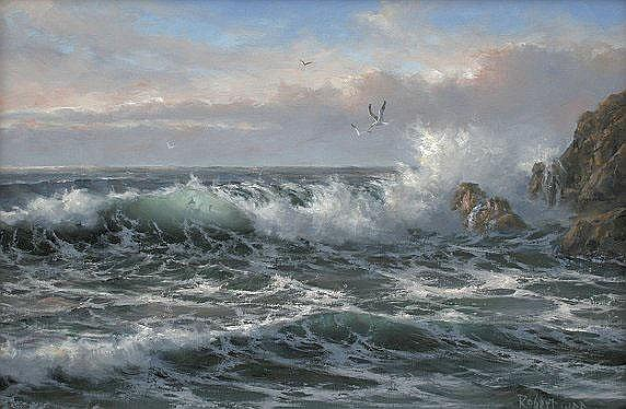 MASTERFUL ROBERT WEE SEASCAPE PAINTING