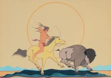 BLACKOWL INDIAN BUFFALO HUNT PAINTING