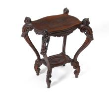 VICTORIAN FIGURAL CARVED LAMP TABLE