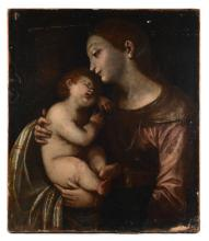 EARLY OLD MASTER MADONNA & CHILD PAINTING