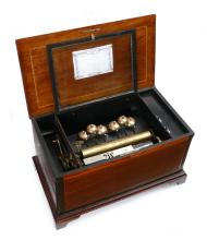 LARGE SWISS INLAID CYLINDER MUSIC BOX WITH BELLS
