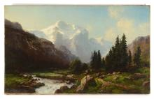 JOSEPH BUTLER SWISS VALLEY LANDSCAPE PAINTING
