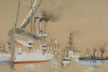 W.G. WOOD MARITIME ILLUSTRATION BATTLE OF MANILA