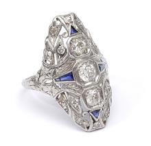 DECO PLATINUM DIAMOND FILIGREE RING