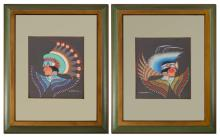 TWO PIECE BLACKOWL INDIAN PAINTING LOT