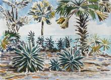 FL COAST PALM LANDSCAPE PAINTING SIGNED ARSENAULT