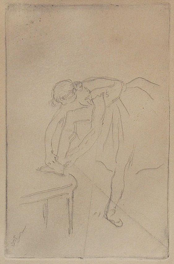 EDGAR DEGAS BALLERINAS ETCHING