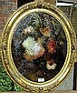 Victorian Oil on Canvas, laid behind convex glass, Still life study of roses, in ornate floral embossed gilt frame, 17.5in x 14.5in Estimate -